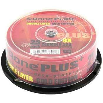 Picture of AOne 8.5Gb DVD+R Dual Layer 8x Gold Edition (25pk)