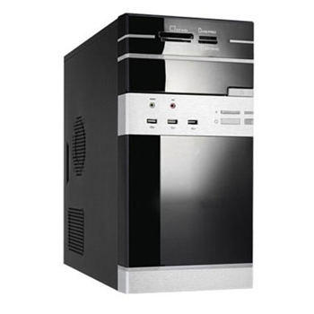 Picture of PcNet MicroATX Tower Case Piano Black Finish 500w+Card Reader