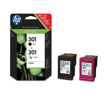 Picture of Original HP 301 Combo-pack Black Tri-colour Ink Cartridges-N9J72AE