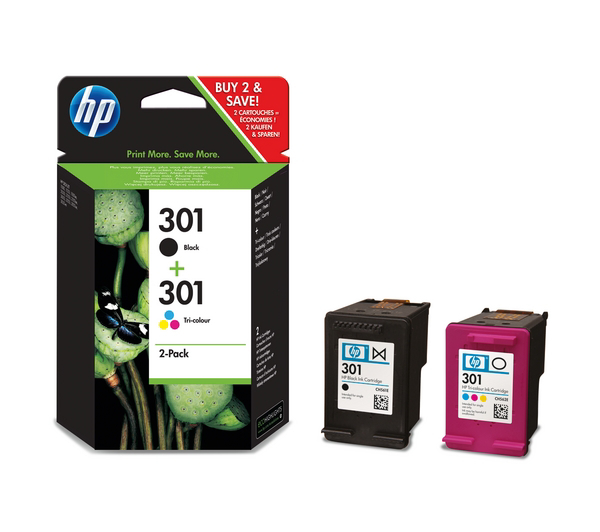 Picture of Original HP 301 Combo-pack Black Tri-colour Ink Cartridges-N9J72AE