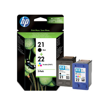 Picture of Original Hewlett Packard HP No. 21,22 Inkjet Cartridges Black and Color
