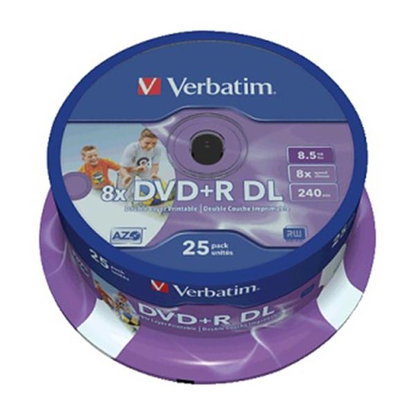 Picture of Verbatim 8x DVD+R Dual Layer Printable Discs - 25 Pack