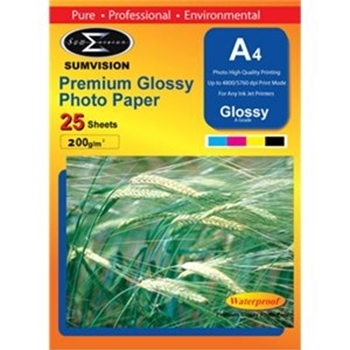 Picture of Photo Paper A4 Premium Glossy 200gm  Paper 25 Pack Waterproof