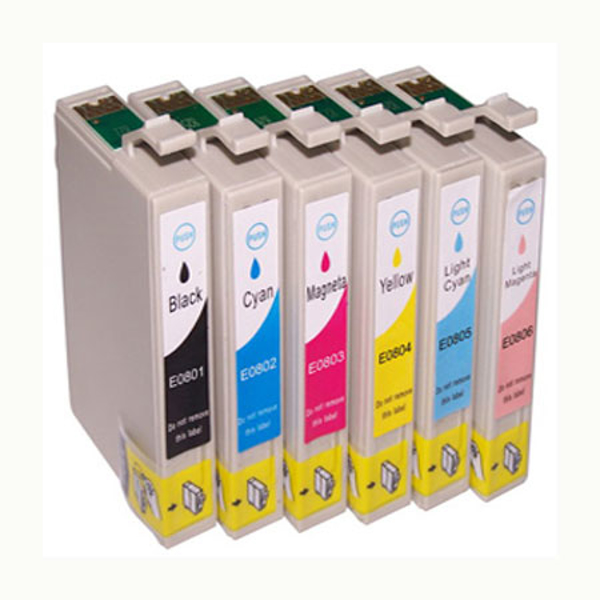 Picture of Non-OEM Compatible Epson T0801/T0802/T0803/T0804/T0805/T0806 a Set of 6 Ink cartridges