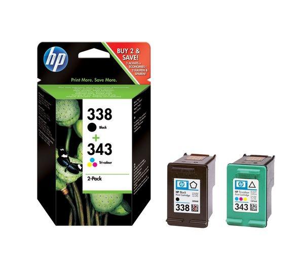 Original HP 338 Black 343 Tri Colour Ink cartridge-SD449EE